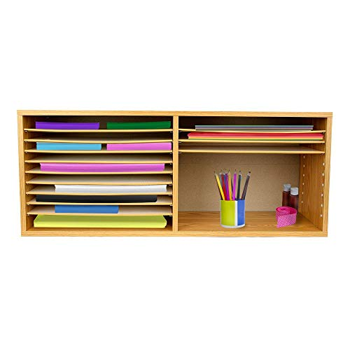 AdirOffice Wood Literature Organizer Sorter - Vertical Paper Storage File Holder - A Stylish Look for Home, Office, Classroom and More - 20 Slots (Medium Oak)
