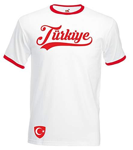 Aprom-Sports Türkei Ringer Retro TS WM EM Soccer T-Shirt Trikot Look , XL, Weiß