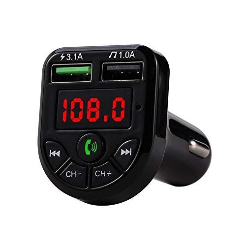 KOLOSM Cargador Coche Bluetooth inalámbrico Manos Libres Kit de Coche Receptor Doual USB Cargador Kit Accesorios para automóviles (Color Name : Black)