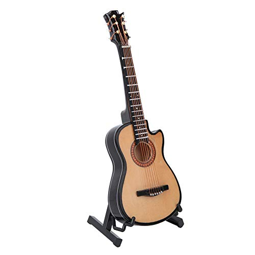 Modelo de guitarra de madera Modelo de guitarra en miniatura Casa de muñecas Instrumento musical Mini adornos musicales para manualidades Adorno de casa de café en casa(16cm)