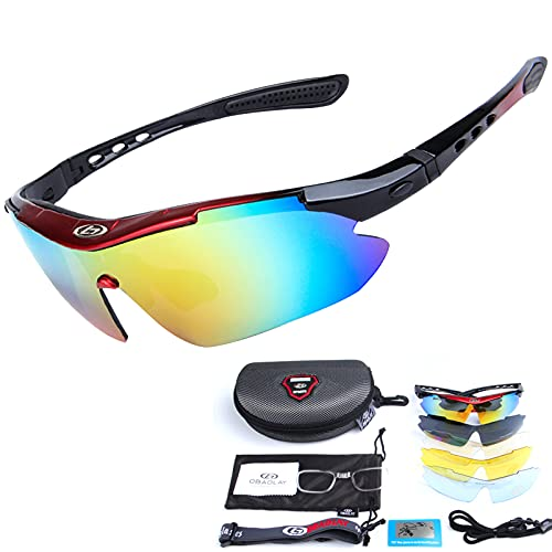 Gafas de Sol Polarizadas Deportivas Gafas de Ciclismo con 5 Lentes Intercambiables Hombres Gafas Deportivas a Prueba de Viento Conducción Pesca Béisbol Deportes al Aire Libre Diseño Protección UV400