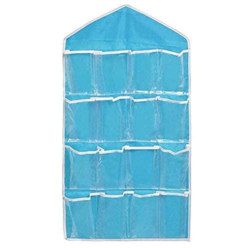 Organizador de ropa interior colgante, 16 bolsillos, transparente sobre la puerta, para colgar zapatos, rack de almacenamiento, color azul