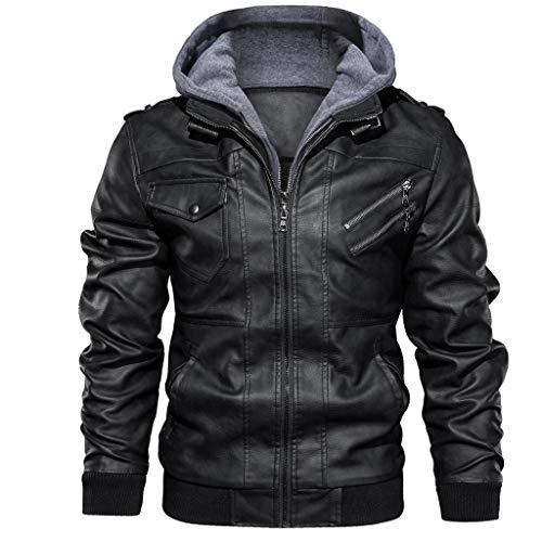 qiaoxiahe Winterjacke Herbst und Winter Männer Retro-Lederjacke mit Kapuze Hoodie Herren Warmen Superior Leather Garments Herren-Lederjacke Lockerer Jacke