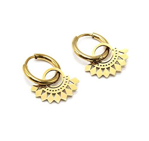 BO1877 – Pendientes de mini aros con círculo étnico de acero dorado