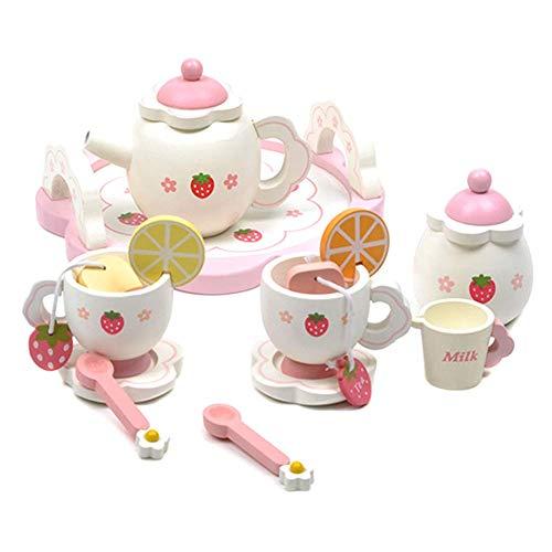Ablita Legno Mini Set da Tè Giocattolo Coppa Teiere Vassoio per Bambini Bambini Cucina Gioco di Ruolo