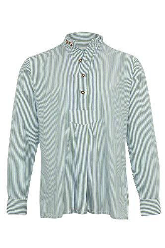 Isar-Trachten Herren Trachten-Stehbund-Hemd mit Pfoad gestreift blau grün, BLAU/GRÜN, 39/40