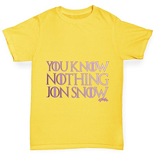 TWISTED ENVY Mädchen T-Shirt You Know Nothing Jon Snow Print Age 12-14 Gelb