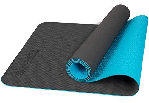 TOPLUS - Tappetino da yoga senza ftalati, per ginnastica, pilates, fitness, con tracolla, antiscivolo, per fitness, pilates e ginnastica, 183 x 61 x 0,4 cm, nero e blu