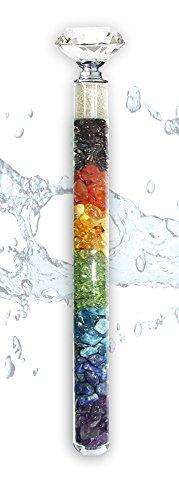 Edelsteinstab Wasserstab Chakraharmonie mit Rohdiamanten