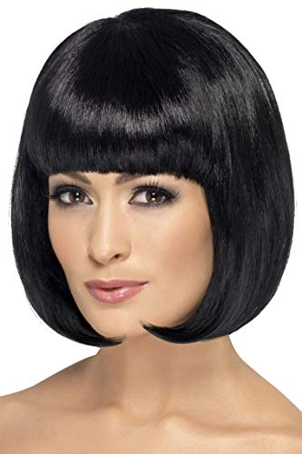 Adult Women's Partyrama Wig, Black, Short Bob with Fringe, Perfect for carnivals, theme parties and Halloween Flashback to the 60's Mod hair days, For a sleek and sexy disguise! Extra-ventilation thanks to built-in mesh net, Optional Nylon Wig Cap (n...