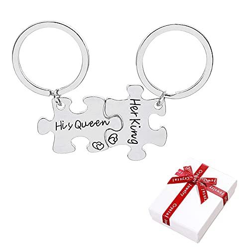 Liitata 2 Stück Puzzle Freundschaft Schlüsselbund Partner Schlüsselanhänger Matching Puzzle Anhänger mit Aufschrift His Queen und Her King für Geburtstags Geschenk Jubiläums geschenk Souvenir