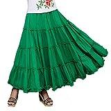 Saukiee Women's Bohemian Elastic Waist Long Skirt Cotton Circle Ruffle Broomstick Peasant Maxi Tiered Skirts