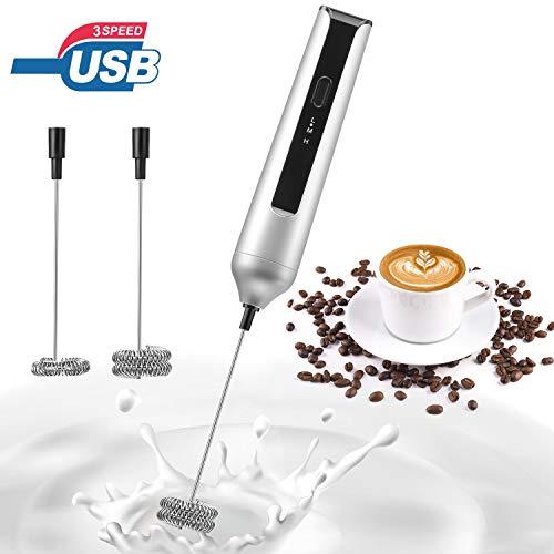 MOSUO Elektrischer Milchaufschäumer mit Doppeltem Quirl, USB Wiederaufladbar Milchschäumer Schneebesen, Aufschäumer für Kaffee/Latte/Cappuccino/Sahne/Macchiato/Eier Schlagen