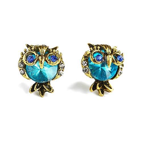 Family Needs Fashion Uil Stud Oorbellen Cherubic Temperament Chromatic Mode Exaggeration Diamond Earrings (Color : Owl)