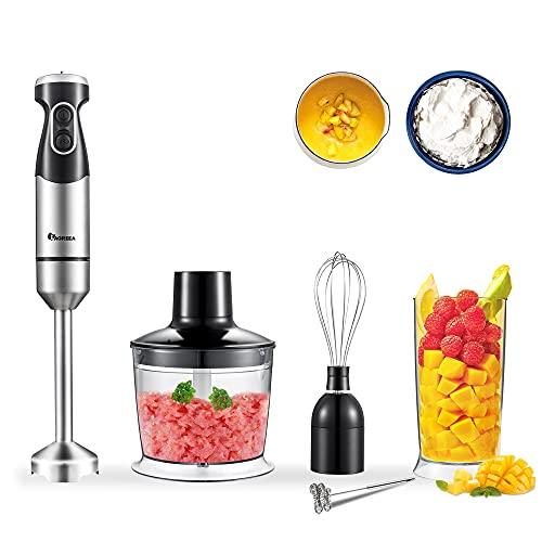 IAGREEA Stick Blender, 800W 5-In-1Immersion Hand Blender, 16-Speed Hand Blender With Milk Frother/Egg Whisk/500ml Chopper &600ml Beaker With Lid, BPA-Free Handheld Blender