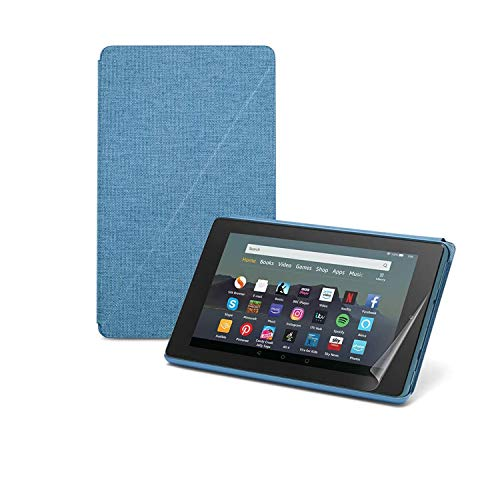 Fire 7 Essentials Bundle | Includes Fire 7 Tablet (32 GB, Twilight Blue, with Ads), Amazon Case (Twilight Blue) and NuPro Screen Protector Kit (2-pack)