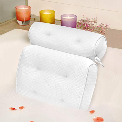 Bath Pillow Organic Tencel Bathtub Pillow - Upgraded 4D Air Mesh Bath Pillow with Head, Neck, Back and Shoulder - Ultra Soft and Quick Dry Spa Pillow for Bathtub - White