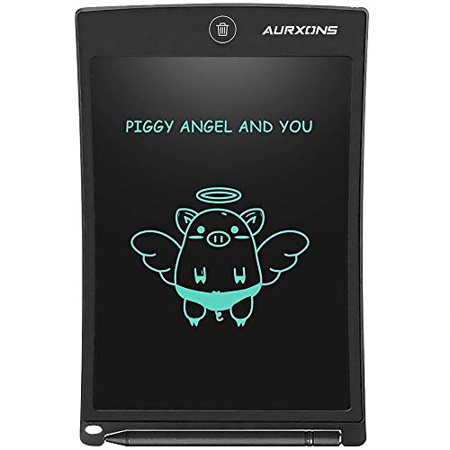 "AURXONS LCD Writing Tablet, 8.5"" Electronic Writing Drawing Pad, Doodle Board, Erasable Handwriting Tablet, Portable Ewriter for Kids Adults at Home School Office Black"