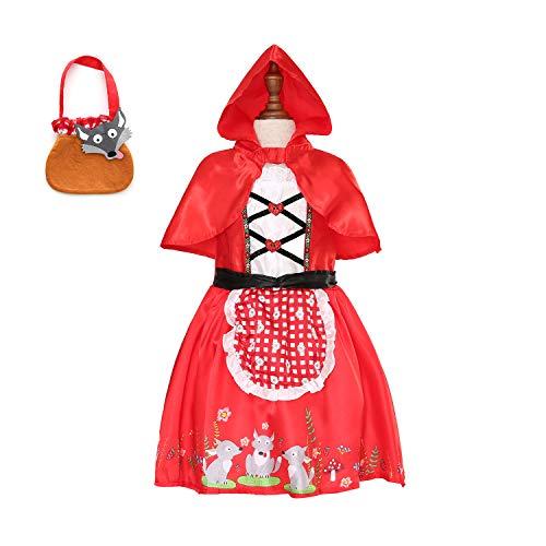 Sincere Party - Disfraz de Caperucita Roja con vestido con capa y cesta para niñas pequeñas