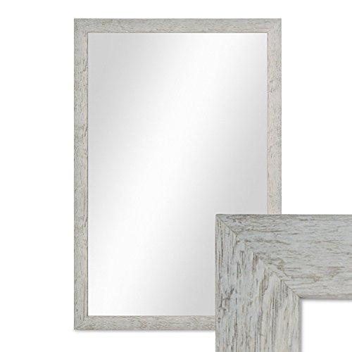 PHOTOLINI Wand-Spiegel 46x66 cm im Massivholz-Rahmen Strandhaus-Stil Rustikal Grau/Spiegelfläche...