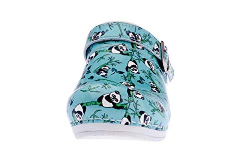 Sanita Animal Panda | Zuecos Abiertos | Producto Artesanal Original para Mujer | Plantilla de Forma anatómica con Espuma Blanda | Correa de talón Ajustable | Menta | 37 EU