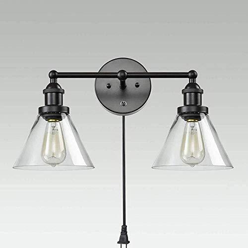 Luz de Pared de la Vendimia con Interruptor y Enchufe de baño Lámpara de baño Habitación de Noche Estudio Lámpara de Lectura Lámpara de Lectura Doble Cabeza Clara Lámpara de Vidrio Metal WA Well