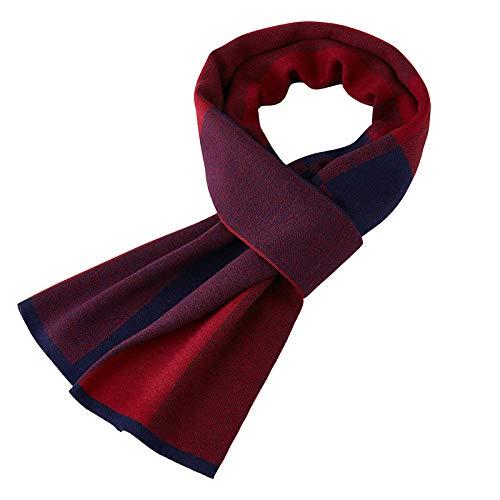Gcgg Bufanda De Lana para Hombre De Negocios De Invierno A Cuadros Británicos De Punto Versión Coreana Salvaje De Babero Cálido(Color:Azul Marino + Rojo Vino)