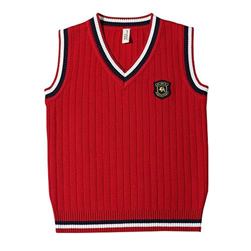 Shengwan Niños Chaleco de Punto Cuello V Suéter Jersey Uniforme de Colegio para Bebé 3-8 Años Rojo 150cm