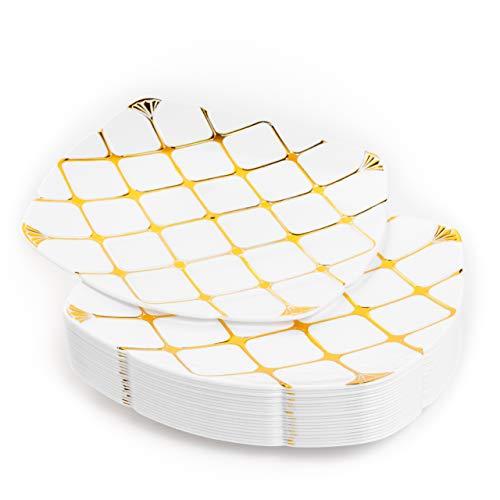 20 Platos de Plástico Duro Blanco con Patrón Dorado, 25cm - Elegante,...