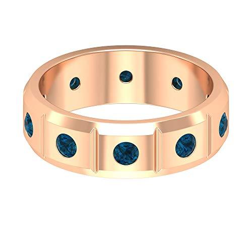 Anillo de compromiso simple, anillo de piedra natal de diciembre, anillo de topacio azul de 0,9 quilates, anillo de boda ancho, anillo único de aniversario, 14K Oro rosa, Size:EU 64