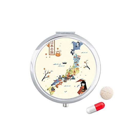 DIYthinker Traditionele Japanse Lokale Culturele Kaart Reizen Pocket Pil Case Medicine Drug Opbergdoos Dispenser Spiegel Gift