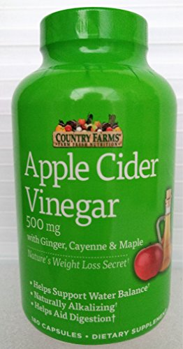 Country Farms Apple Cider Vinegar 500mg 180 capsules with Ginger, Cayenne and Maple