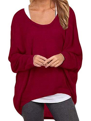 ZANZEA Damen Lose Asymmetrisch Jumper Sweatshirt Pullover Bluse Oberteile Oversize Tops Wein Rot EU 46/Etikettgröße XL