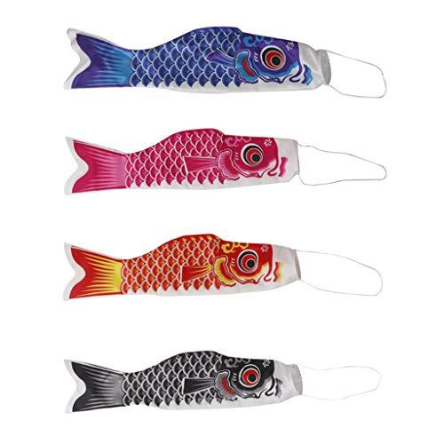 perfk 4X Hausdach Hängen Koinobori Japanischer Karpfen Wind Socke Koi Nobori Fisch Flagge