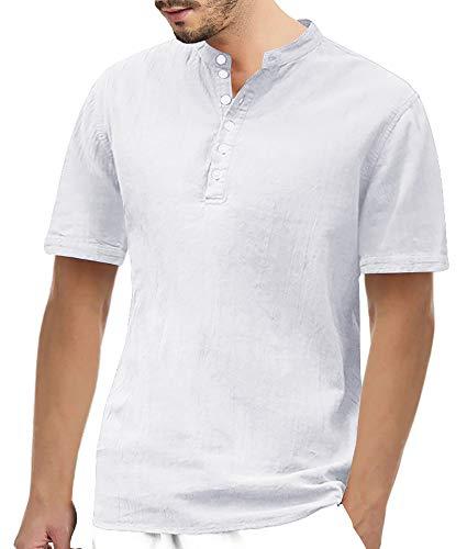 Gemijacka Herren Leinenhemd Henley Freizeithemd 3/4 Ärmellänge & Kurzarm Regular Fit Kragenloses Shirt, Weiß, XL