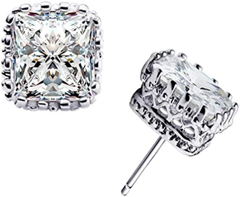 YAZILIND White Gold Plated Claw 6mm Square Gemstone CZ Ear Stud Earrings 1 product image