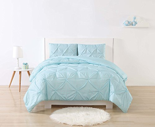 My World Printed Gingham Pinch Pleat Kids Comforter Set, Twin XL, White/Aqua