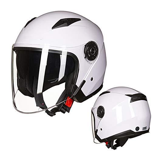 DW007 Casco patear Scooter eléctrico Voltear Cruz Anti Niebla Motocicleta Helmets Universal Sombrero,Blanco,XXL