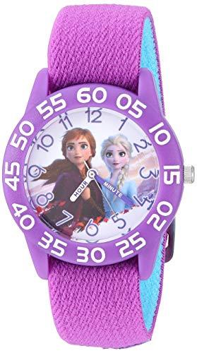 DISNEY Girls' Frozen 2 Analog Quartz Watch with Nylon Strap, Purple, 16 (Model: WDS000775)