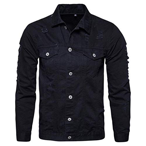 Männer Nner Herbst Langarm Demin Outwear,Moonuy Herren Modernas Lässig Winter Langarm Demin Jacke Tops Outwear Neue Style Demin Shirt (Color : Schwarz, Size : XL)