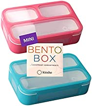 Snack Container - Small Bento Lunch Box for Kids Girls Boys Toddlers | MINI Leak-proof Boxes, Portion Containers, BPA-Free Pink and Blue Set of 2