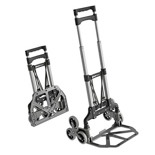 ATHLON TOOLS Aluminium Treppensteiger-Sackkarre klappbar |Ladefläche mit Anti-Rutsch-Pads |Räder mit Soft-Laufflächen |inkl. 2 Expanderseilen | Farbe: schwarz + alu
