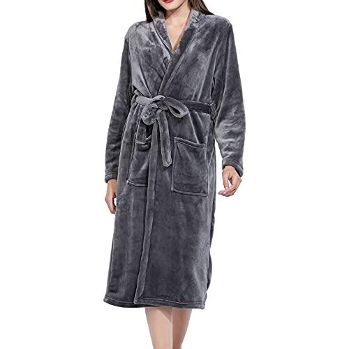 Micv Damen Bademantel Senden Sie trockene Haarkappe , Morgenmantel flauschig Bath-Robe, Garu, L