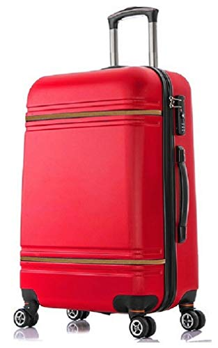 Starlite Luggage ABS147 Hard Shell Suitcase 4 Wheel Spinner (Cabin, Red)