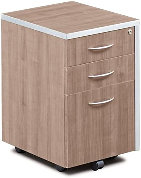 Compass 16 W Three Drawer Mobile Pedestal Stone Walnut Laminate
