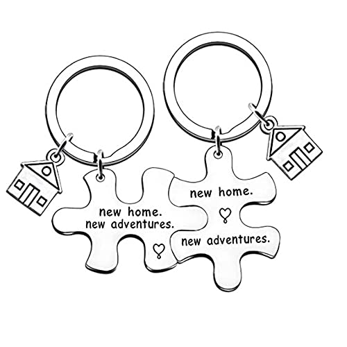 TOFBS Puzzle Partner Llavero Colgante Set Letters de aleación de acero inoxidable con grabado Llavero de pareja Amor Amistad Regalos Plata