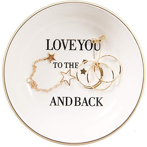 Quany Life Girlfriend Mom Daughter Gold Ceramic Ring Dish - I Love You to The Moon and Back Gift Decor Jewelry Tray for Birthday Valentine Anniversary Mother's Day Thanksgiving Day