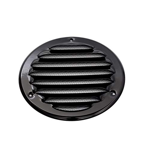 Vent Systems 4'' Inch Black Soffit Vent Cover - Round Air Vent Louver - Grill Cover - Built-in Insect Screen - HVAC Vents for Bathroom, Home Office, Kitchen 4'' Inch
