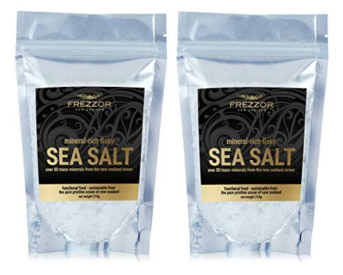 FREZZOR Mineral-Rich Flaky SEA Salt, 2-Pack, Premium Gourmet, Unprocessed Kosher Flakes, 84 Minerals & Trace Elements, 100% All-Natural, New Zealand Solar & Wind Harvested, Lab Certified, 14.8 Ounces
