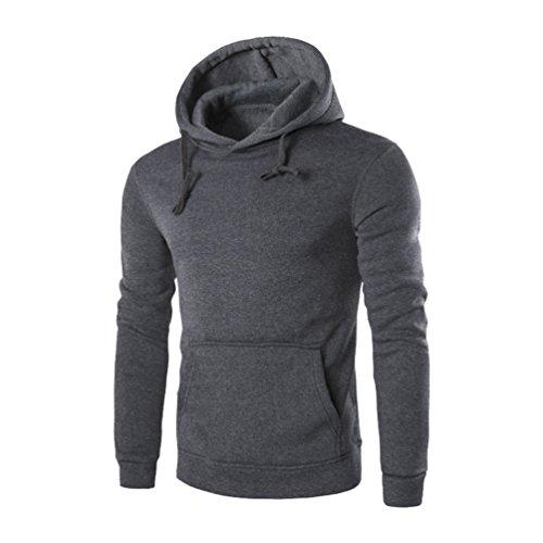 ZKOO Homme Manches Longues Sweatshirt à Capuche Hoodies Pullover Sweat-Shirt avec Poches Automne Hiver Gris Foncé